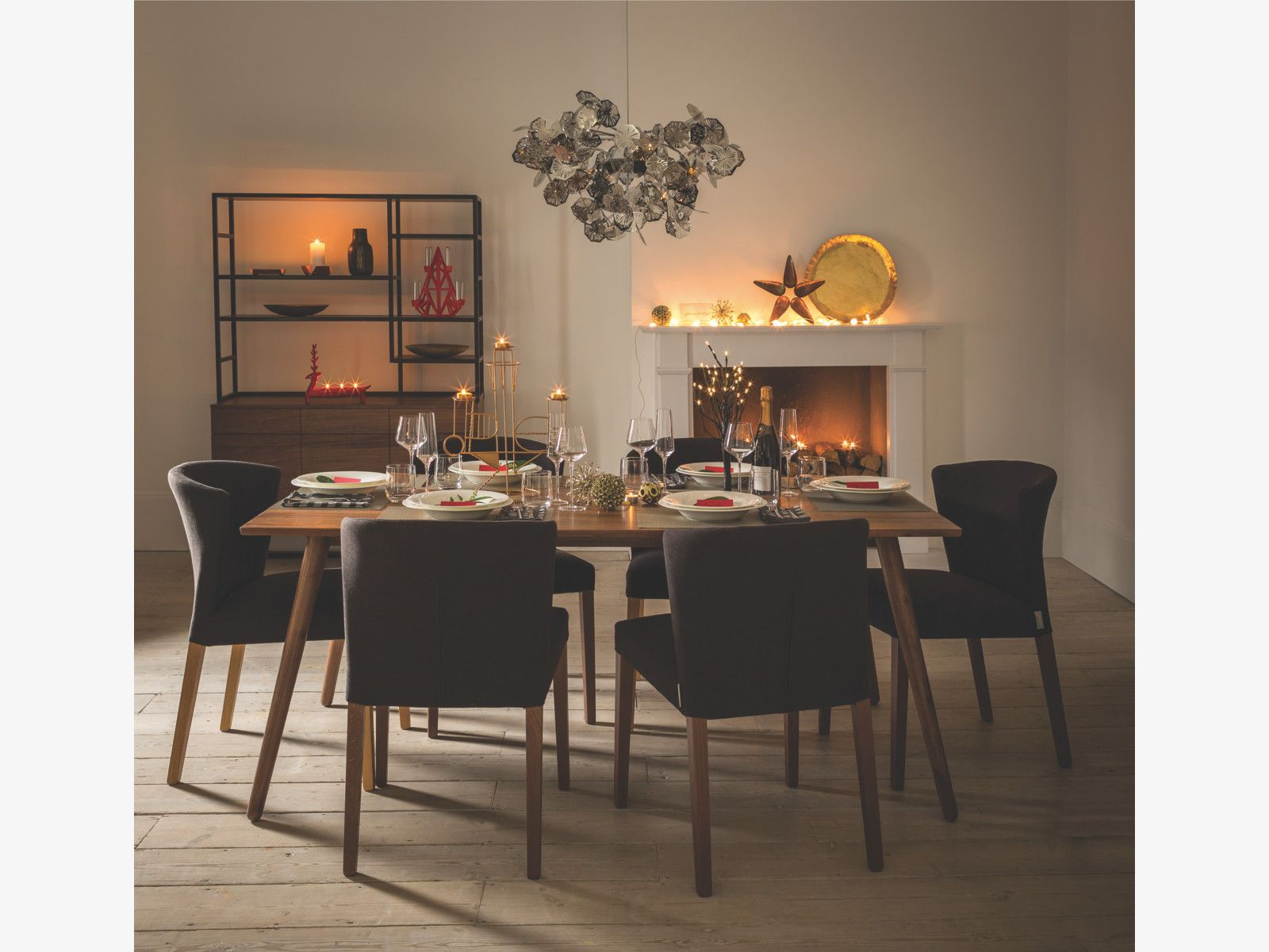 Habitat Grey Upholstered Dining ChairsMetal ChandelierPendant LightingWalnut TableDining