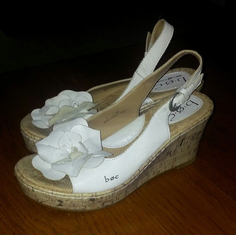 f6bc25a84b6f b.o.c. Born Concept White Leather Sandals Shoes Wedge Flower Cork Heels Size  7  Brn  PlatformsWedges  Casual