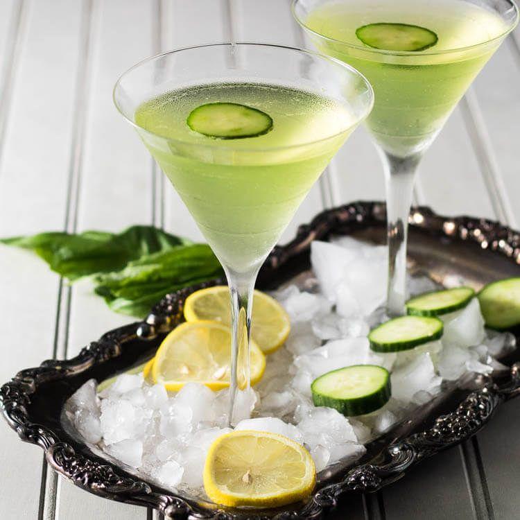 St. Patrick's Lemon Cucumber Martini With Fresh Basil