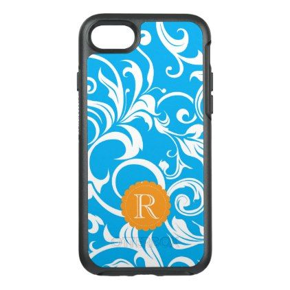 Tropical Blue Floral Wallpaper Swirl Monogram OtterBox