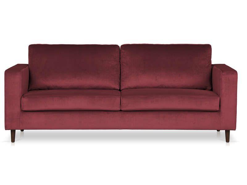Canapé fixe 3 places en velours CATARINA coloris rouge foncé - Vente ...