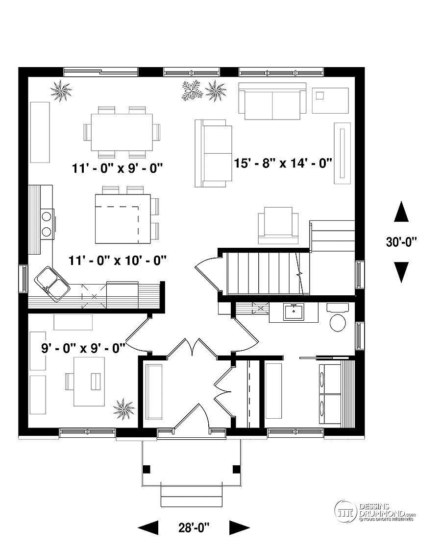 Détail Du Plan De Maison Unifamiliale W3716 V1 Maison