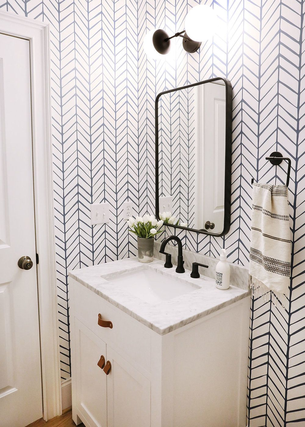 A Fun Graphic Powder Room Reveal Wallpaper Accent Wall