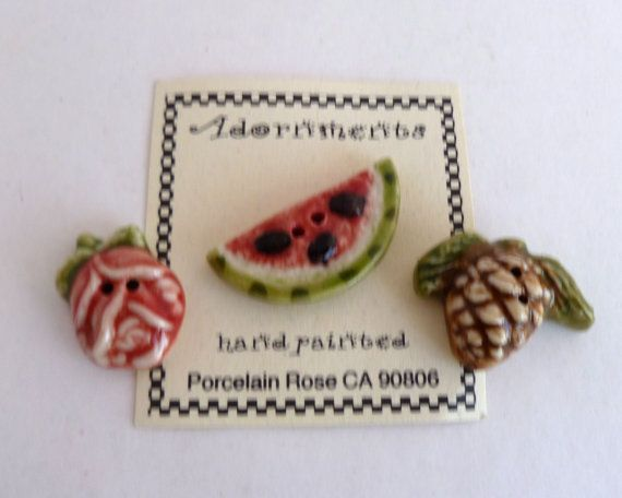 Buttons  Set of 3  handpainted porcelain  by BitsAndPiecesEtc, $9.00