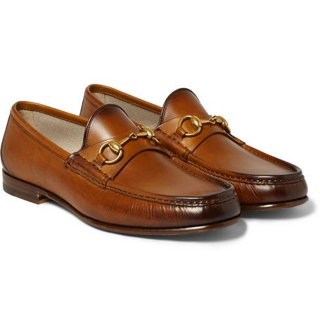 1973533595a Gucci Burnished-Leather Horsebit Loafers