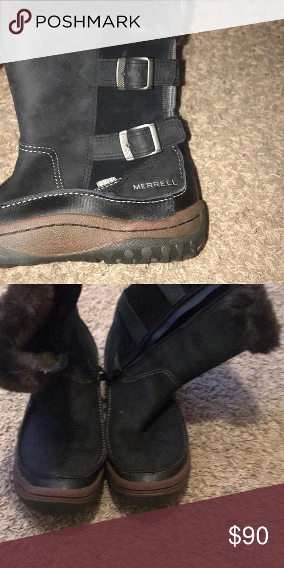 ef2ee97ac8 Black winter snow boots Short black fairly worn snow boots Merrell ...
