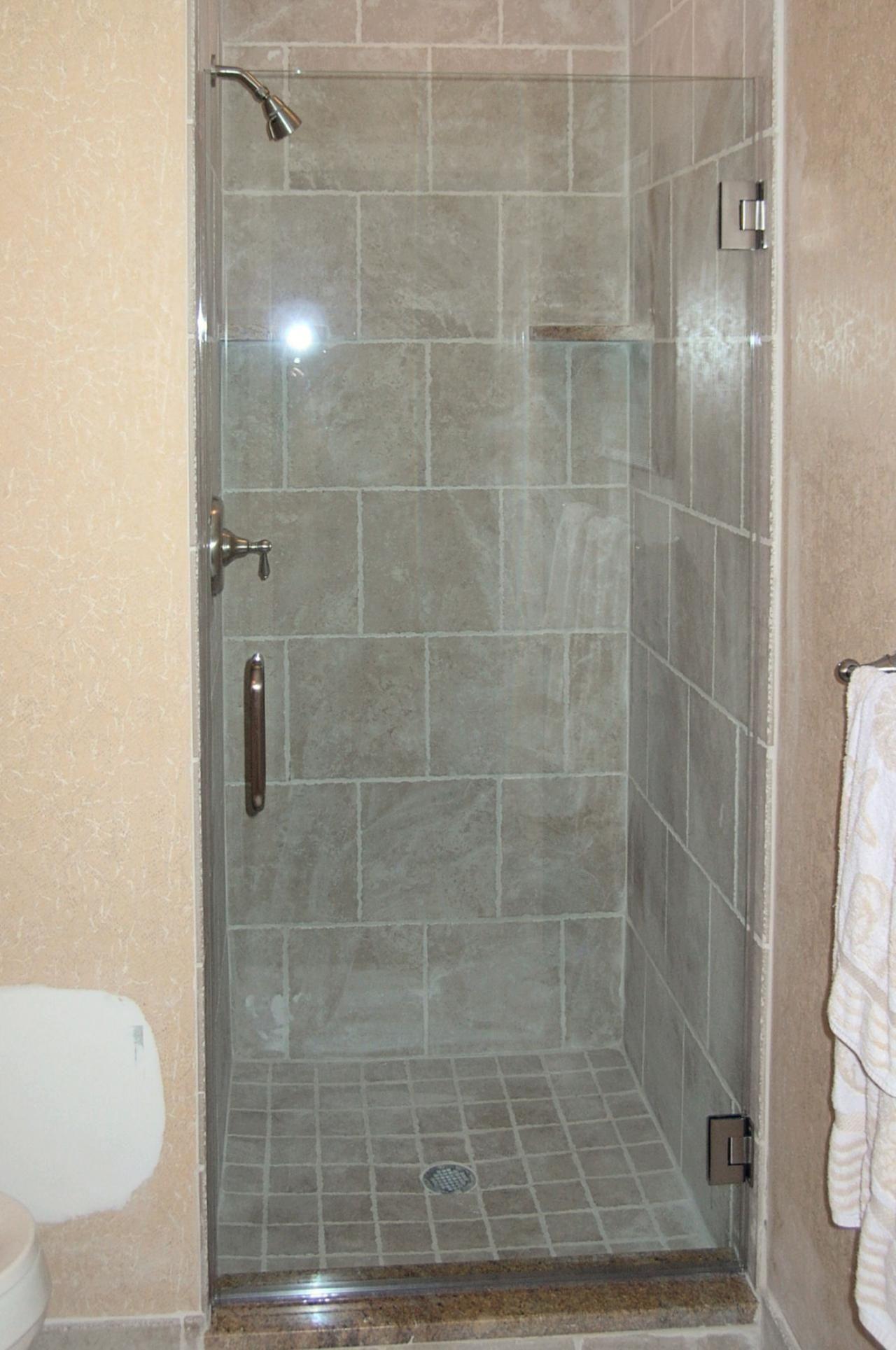 Single Panel Glass Shower Doors Glass Shower Doors Shower Remodel Small Bathroom Makeover