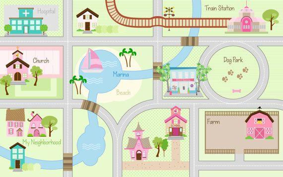 Cars Playmat Roads Play Rug Kids Mat Area
