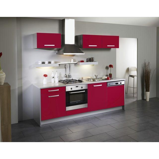 Cuisine compl te lin aire meubles bas lave vaisselle hauts 245 cm rouge brillant juicy - Cuisine lineaire ...