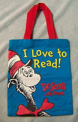 Dr. Seuss and His Friends I LOVE TO READ!  Bag Tote Blue Red Yellow White