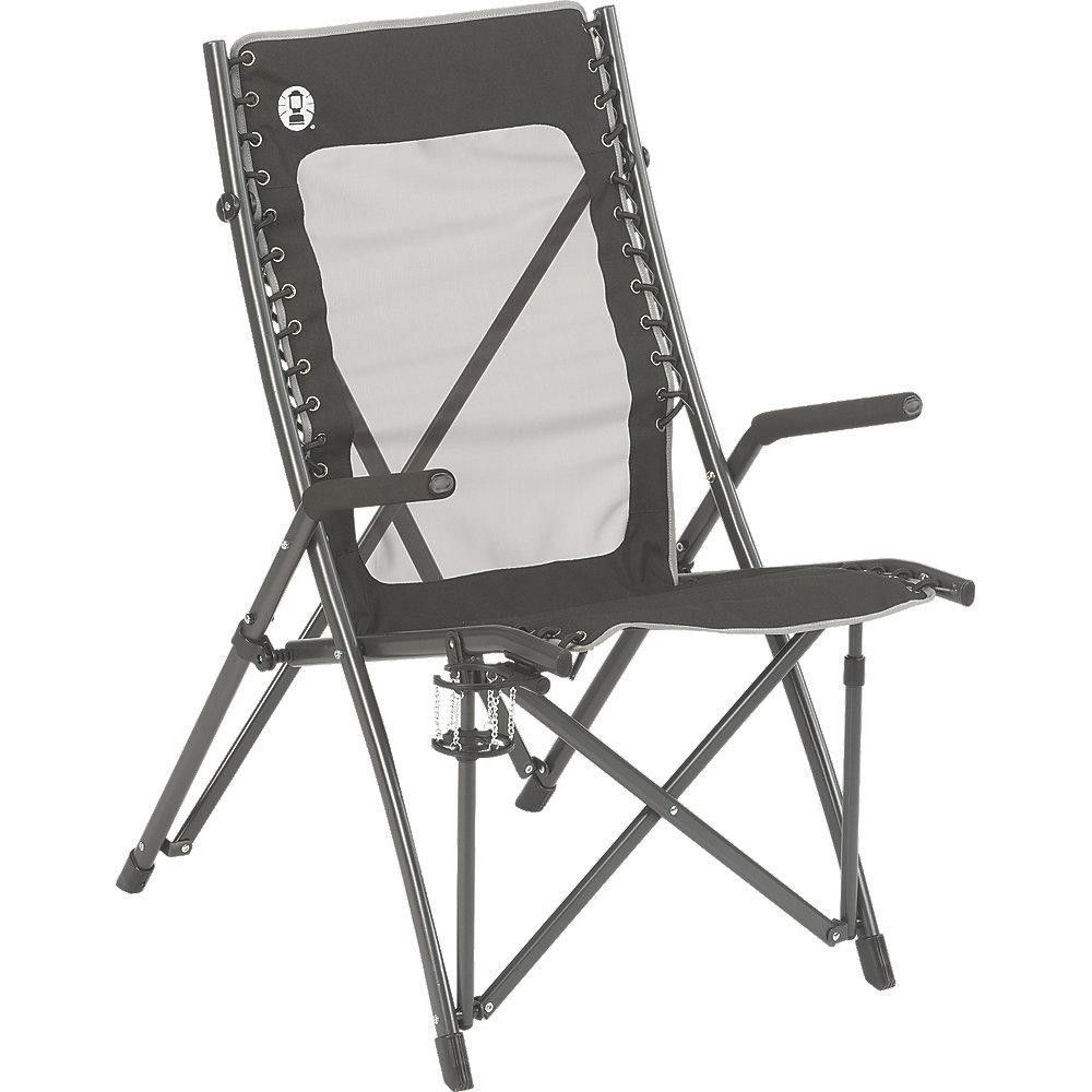coleman folding lawn chair steel frame cup drink holder mesh back