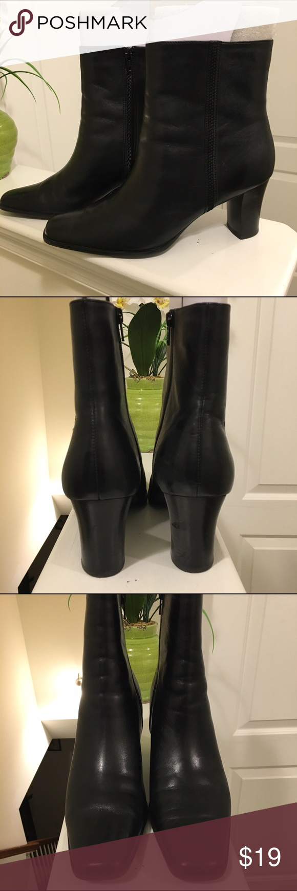 🎈SALE🎈ANA Leather Ankle Boots | Women's 10M JC Penney ANA Brand | Ankle Boot | Leather (real) | 3-inch heel | Square toe | |inside zipper |Haven't worn them in years but they still look good. | Worn but loved. | Minimal scratches from normal use | Photos show condition. | Heather Black | PRICE IS FIRM. a.n.a Shoes Ankle Boots & Booties