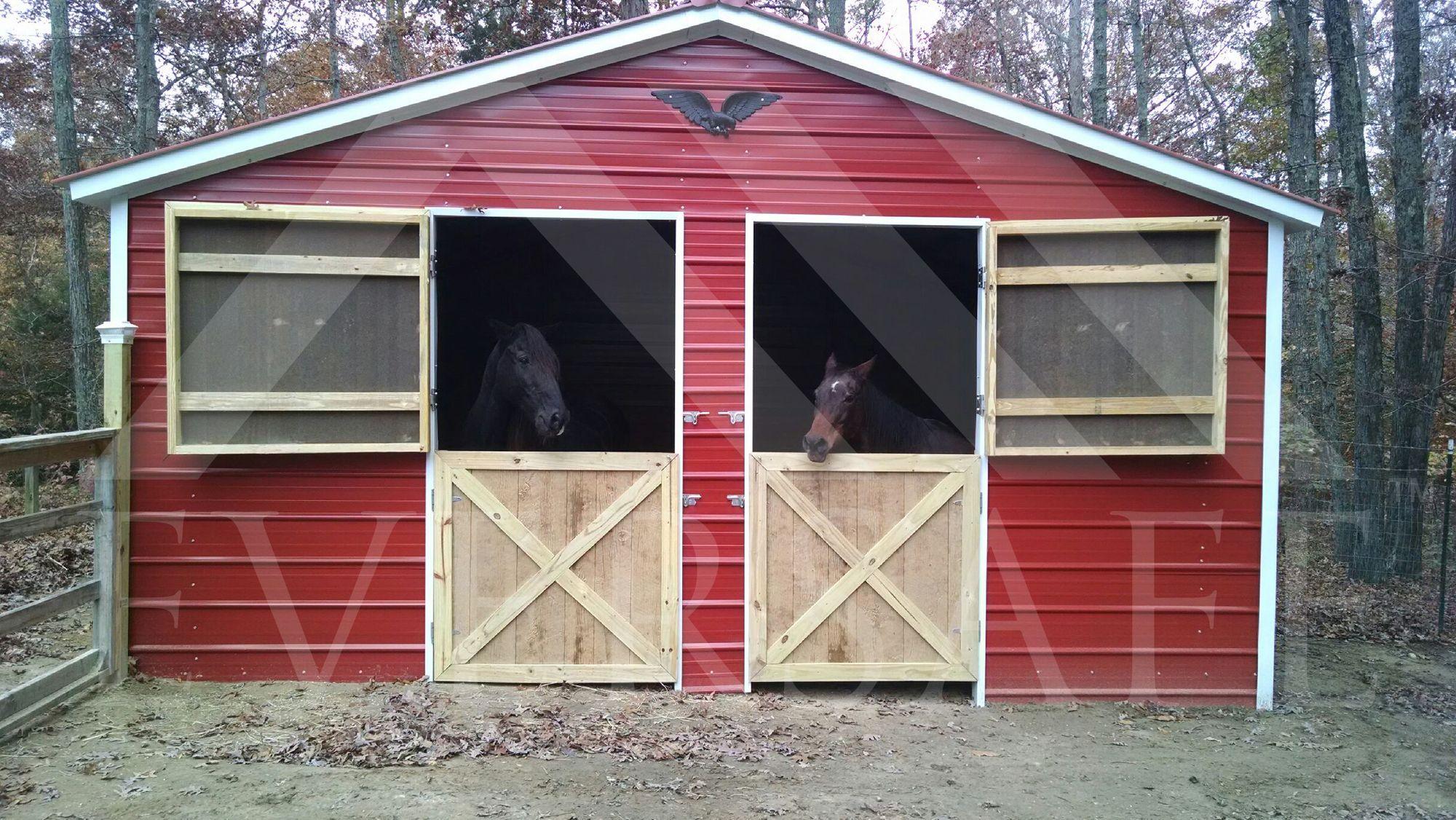 Red Metal Farm Building for Horse Storage Metal farm