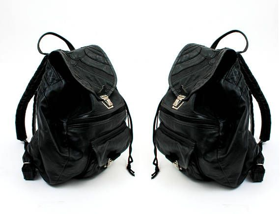 90s Black Leather Patchwork Backpack / 90s Leather Backpack ...