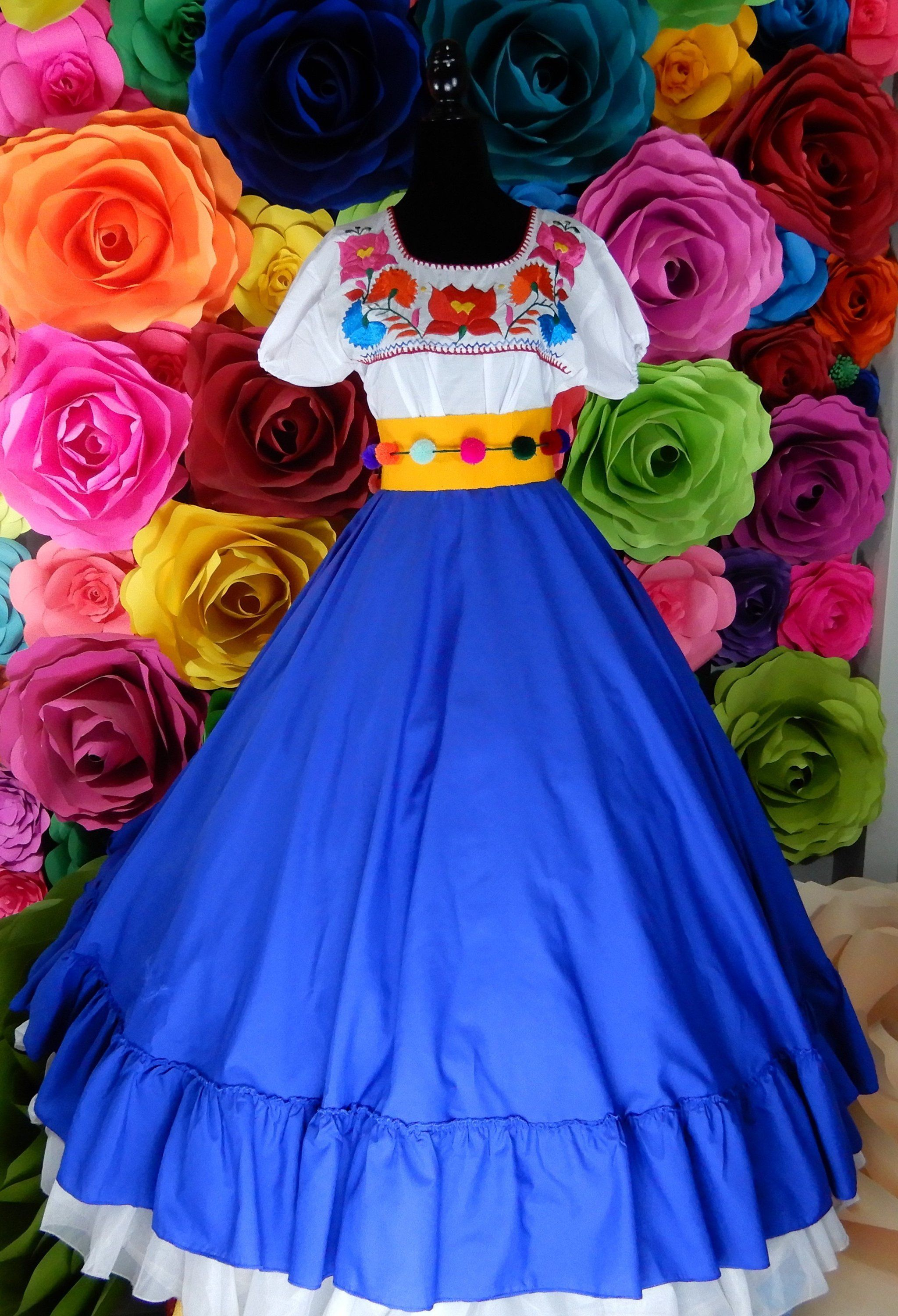 Mexican Green SKIRT ONLY Size 12 child Frida Kahlo style womans mexican boho coco theme party  day of the dead day of the dead costume 80CM