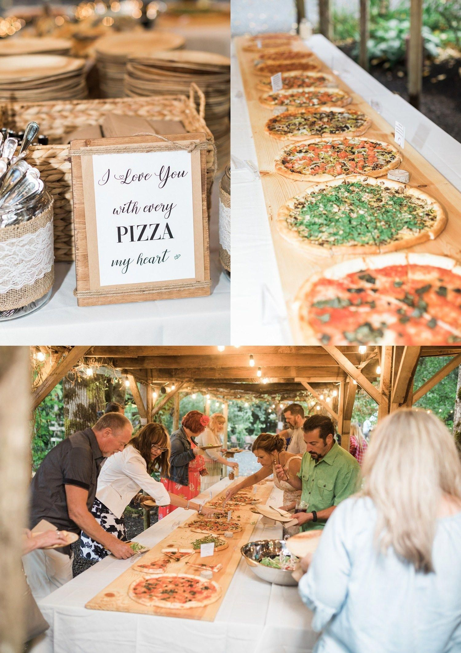 A photo of catered pizza during a reception for a summer