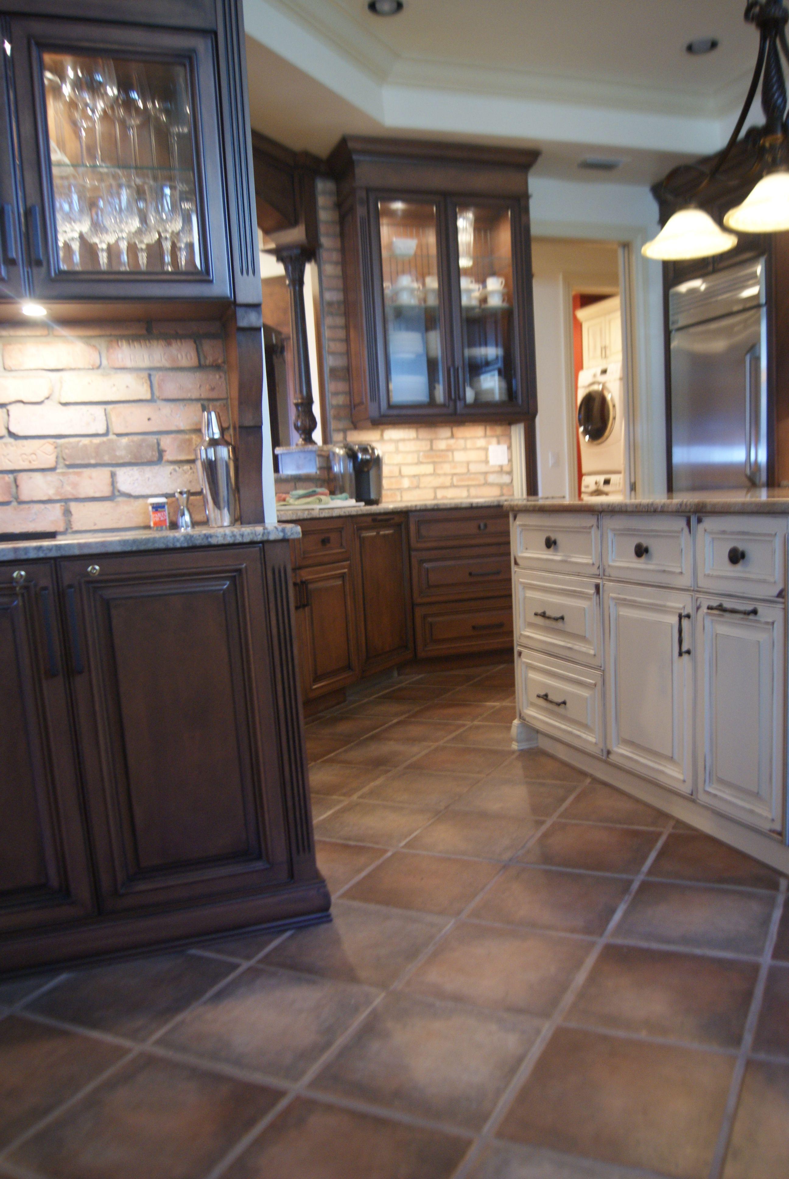 mediterranean inspired kitchen brick back splash terracotta tile floors designed and built by on kitchen remodel floor id=74596