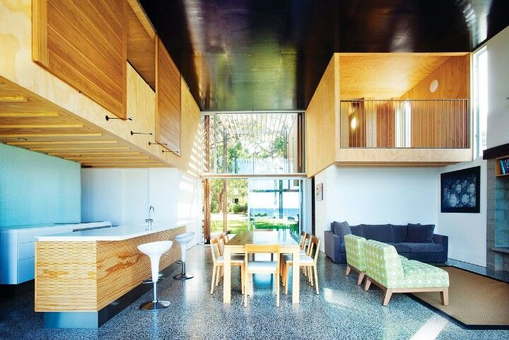 The Ply Lined Capsules Are Upstairs Bedrooms That Look Over The Main Living  Space By Architecture Workshop