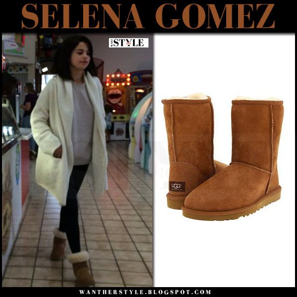 a0600995758 Selena Gomez in white cardigan and brown suede UGG boots | Selena g ...
