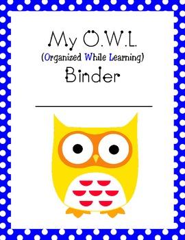 My Owl Binder Homework Take Home Folder Cover Page