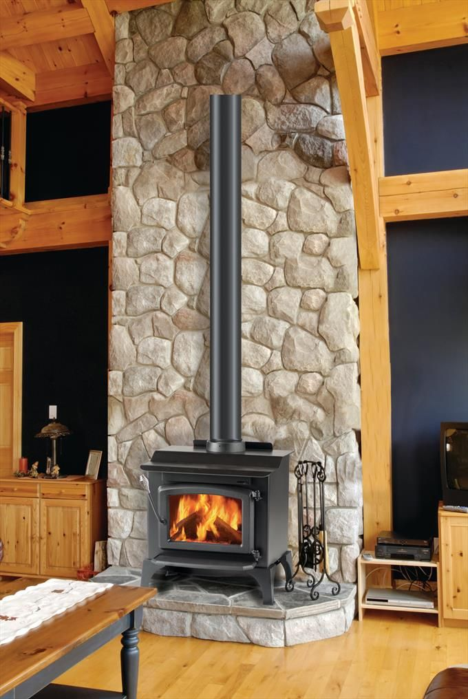 Monessen Hearth Wood Stove Stone Surround Fireplace