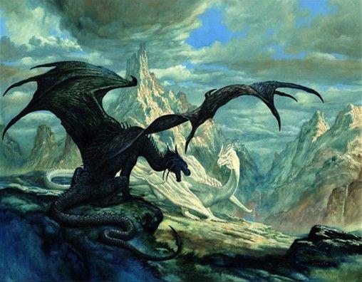Framed Print Giant White Dragon atop a Mountain Picture Poster Fantasy Art