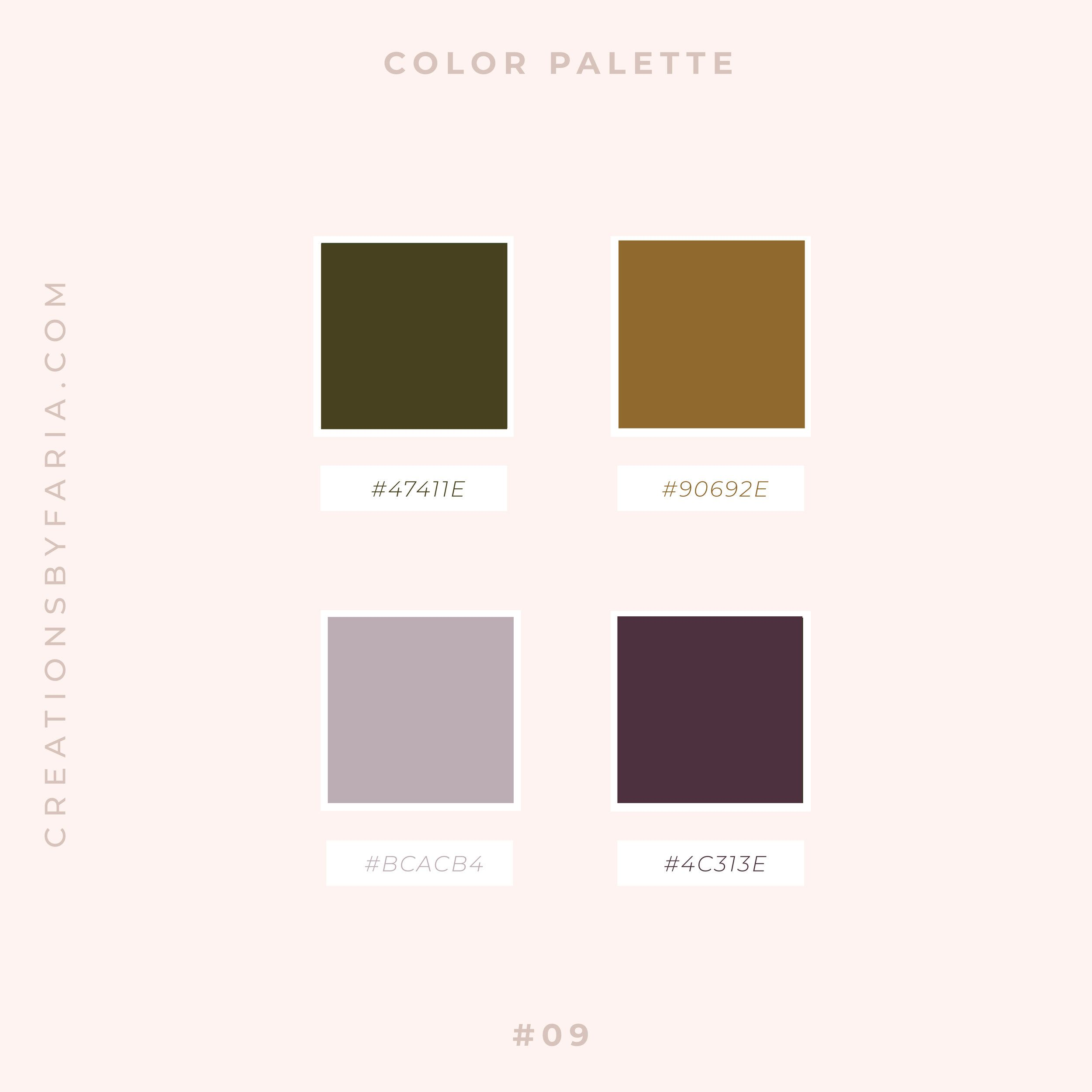 Vibrant And Modern Olive Green Vintage Gold And Plum Color Palette Creations By Faria In 2020 Squarespace Website Design Green Branding Mood Board Inspiration