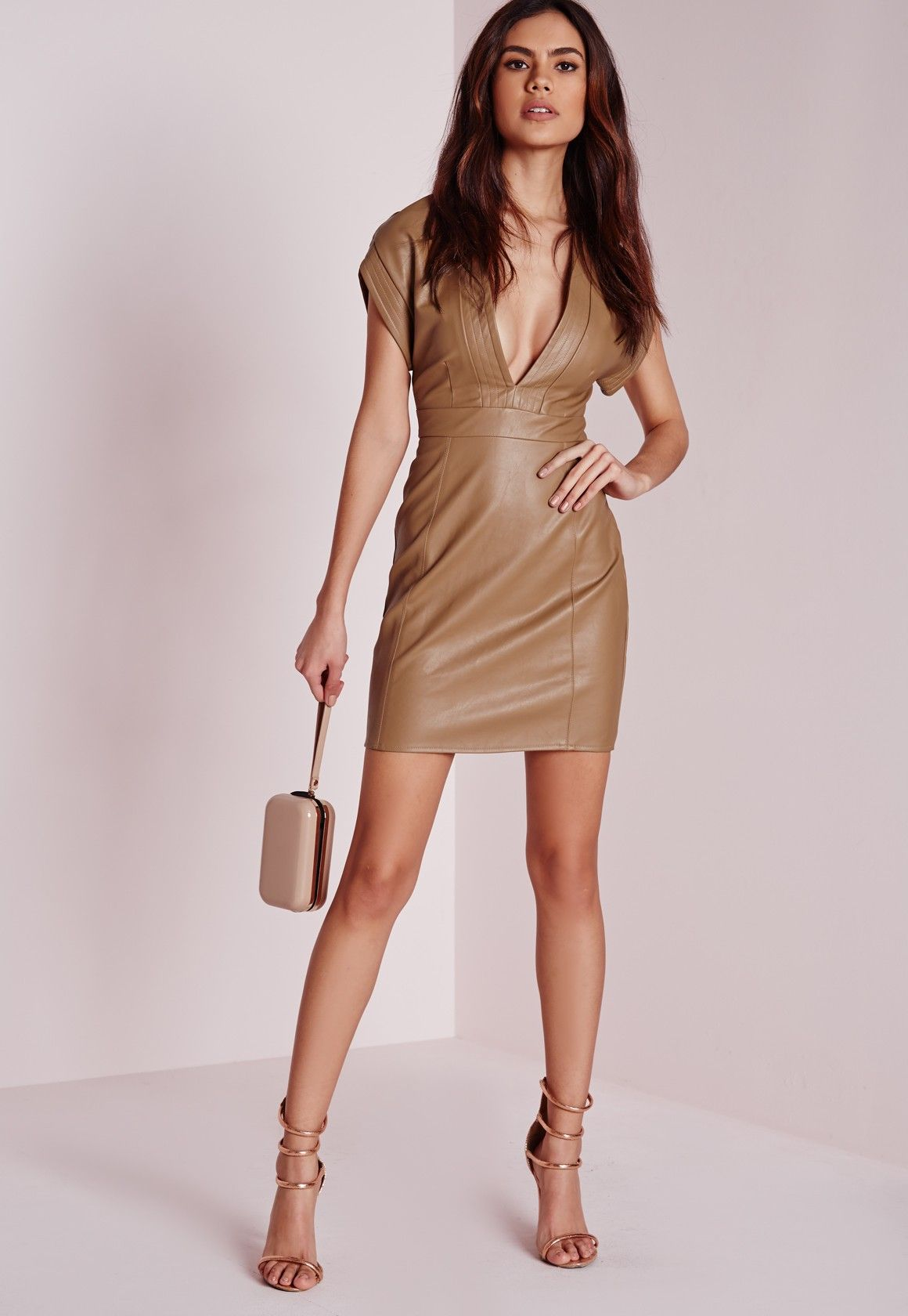 69945c94c09 Missguided - Faux Leather Bodycon Dress Tan