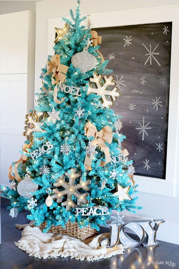 Decoración navideña en color turquesa. Ideas para Navidad ...