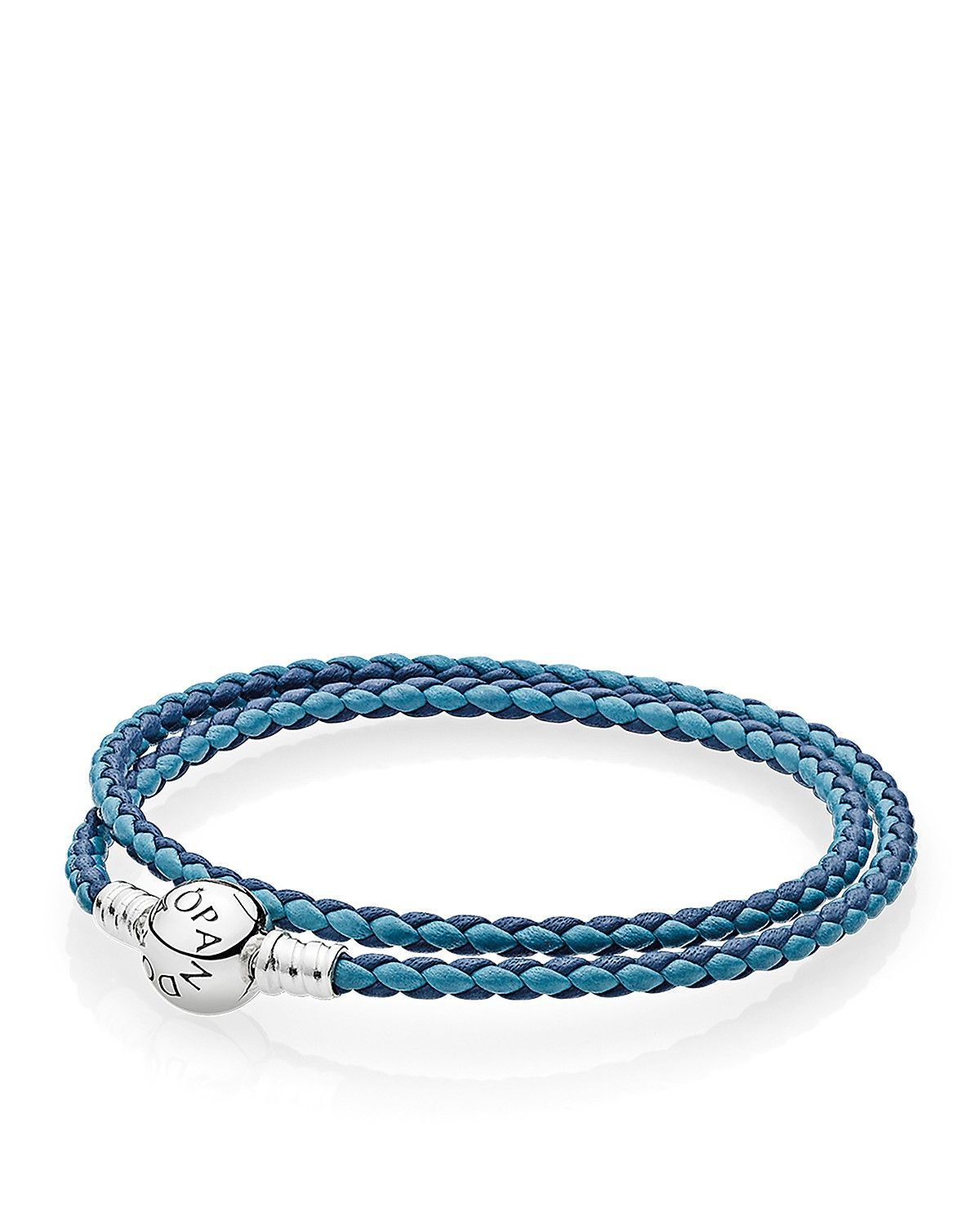 Pandora Mixed Blue Woven Double Leather Charm Bracelet Size S 13 8 In