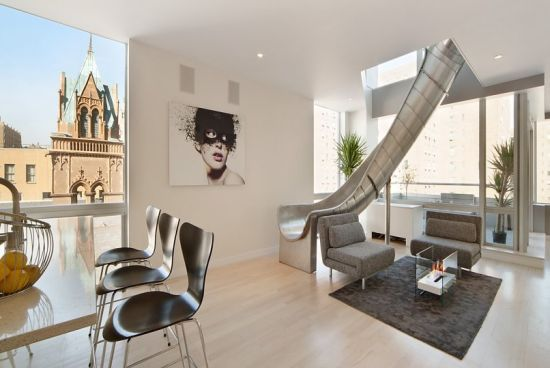 Penthouse connected with slide