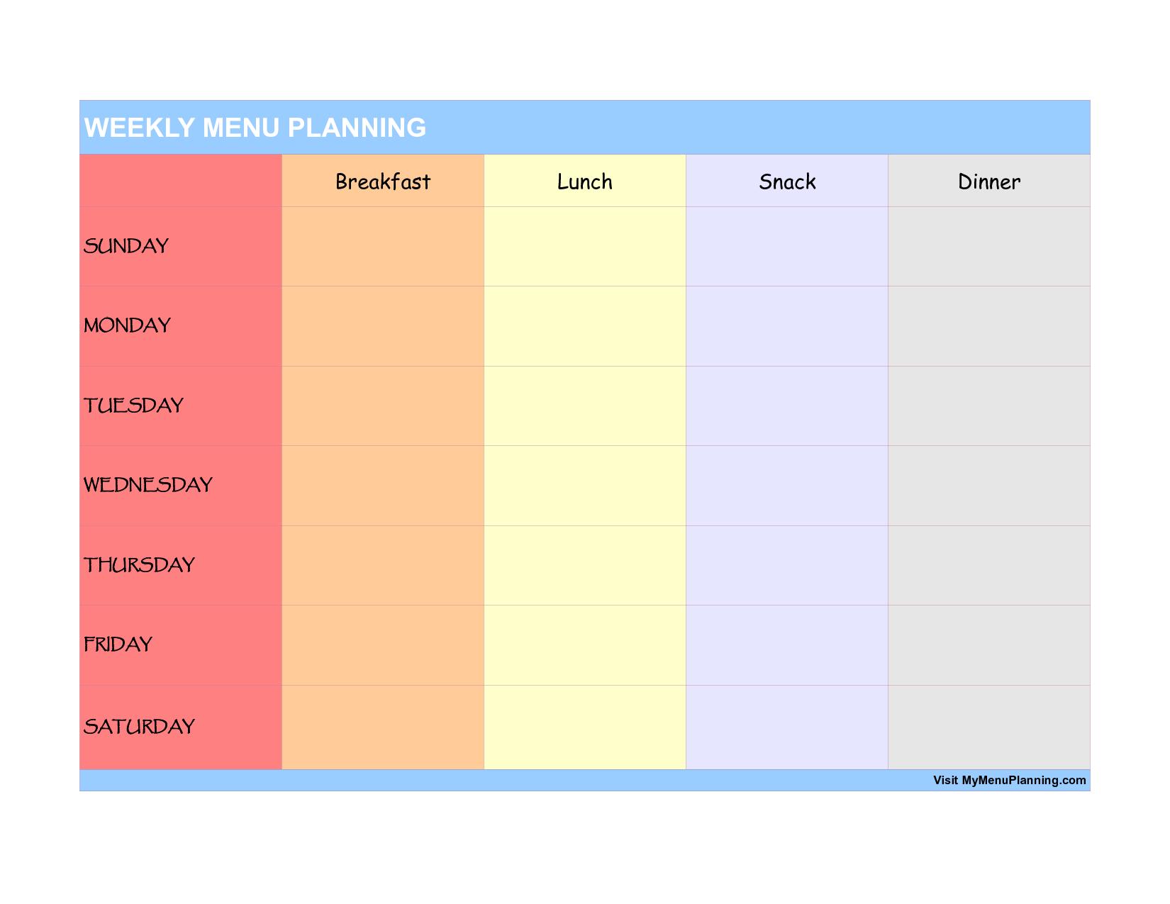 Elegant weekly menu planner template Elegant weekly menu planner – Menu for the Week Template