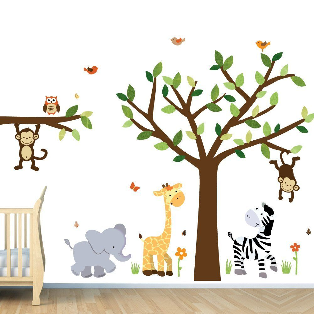 Kids room wall decor stickers - Safari Pride Jungle Tree Wall Decals Jungle Stickers By Bebe Bottle Sling Llc This Is Going To Look So Cute In Beej S Nursery