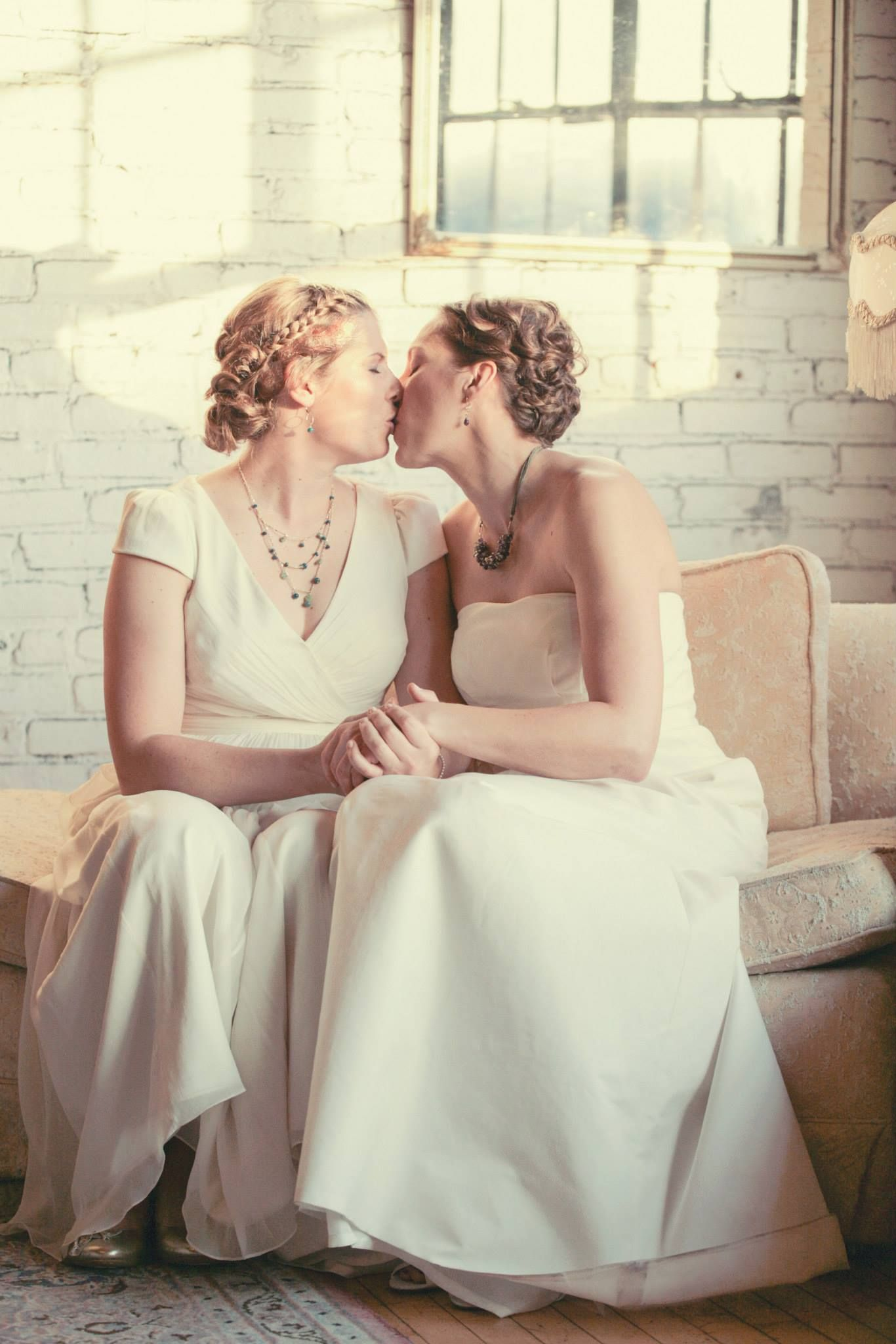 A First Look Or Meeting Kiss In The Bridal Suite At Fall Salvage One Wedding Chicago An J Crew Gowns