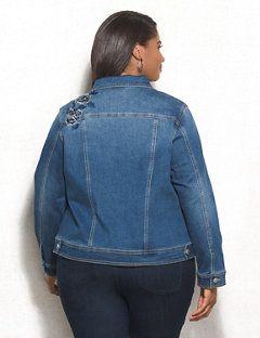020e934f81 WESTPORT Plus Size Floral Embroidered Denim Jacket - alternate image ...