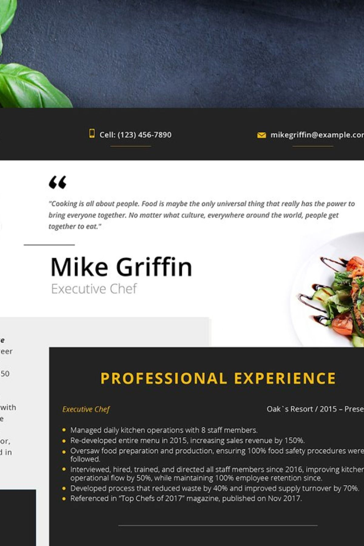Editable resume executive chef editable resume