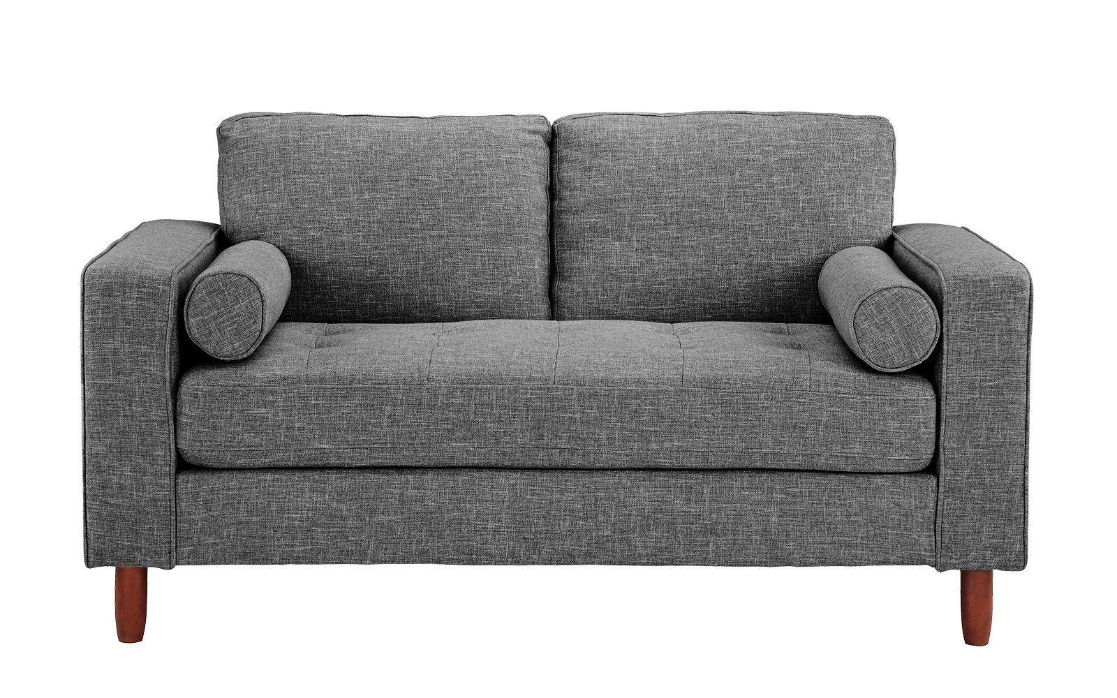 Pleasant Ethan Mid Century Modern Fabric Loveseat With Bolster Short Links Chair Design For Home Short Linksinfo