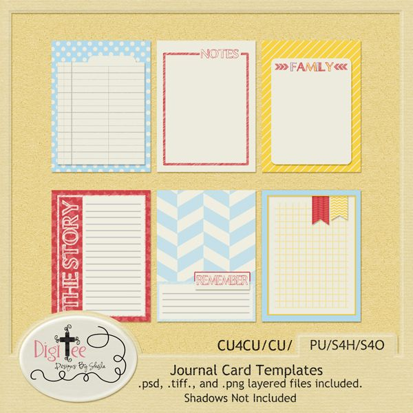 Free journaling card set for project life by DigiTee Designs