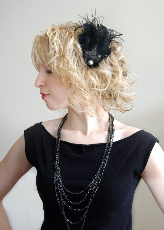 1920s Black Pearl Hair Clip Flapper Great Gatsby by BlueBrocade, $35.00