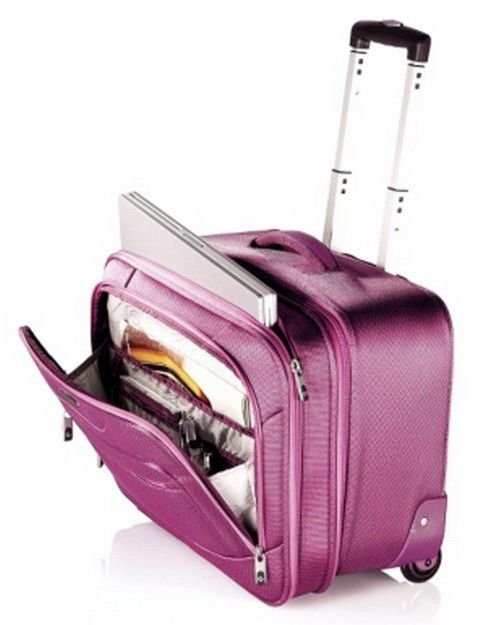 New Samsonite Pink Wheeled Laptop Case Rolling Luggage Bag in line ...