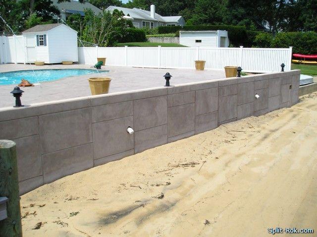 stamped concrete retaining walls | stamped concrete around pools
