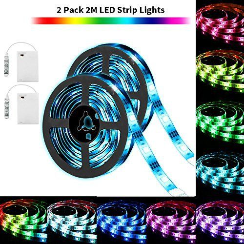 SOLMORE 2pcs 2M Ruban LED   Pile étanche IP65 60 RGB LED Strip Mode