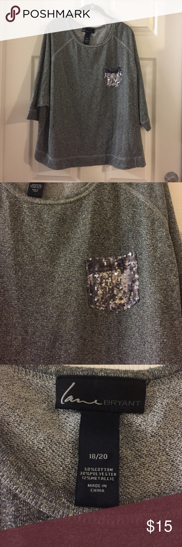❗️SALE❗️Sparkly Grey short sleeve sweater 💢everything must go make me an offer!! 💢.     Short sleeve/ 3/4 sleeve sparkly grey sweater with sparkle pocket size 18/20 Lane Bryant Sweaters