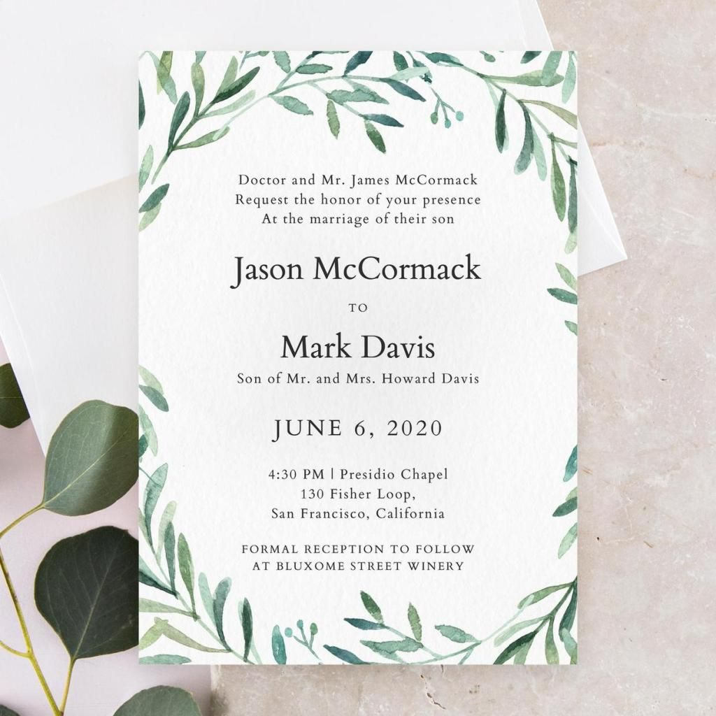 Zola Paper Wedding Invitation With Formal Writing And Green Leafy Vine Motif In Style Ea Unique Wedding Invitations Wedding Invitations Wedding Invitation Text