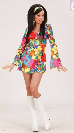 UK 12-14 WOMEN/'S Hippie Hottie Costume 60s Hippy Donna 70s