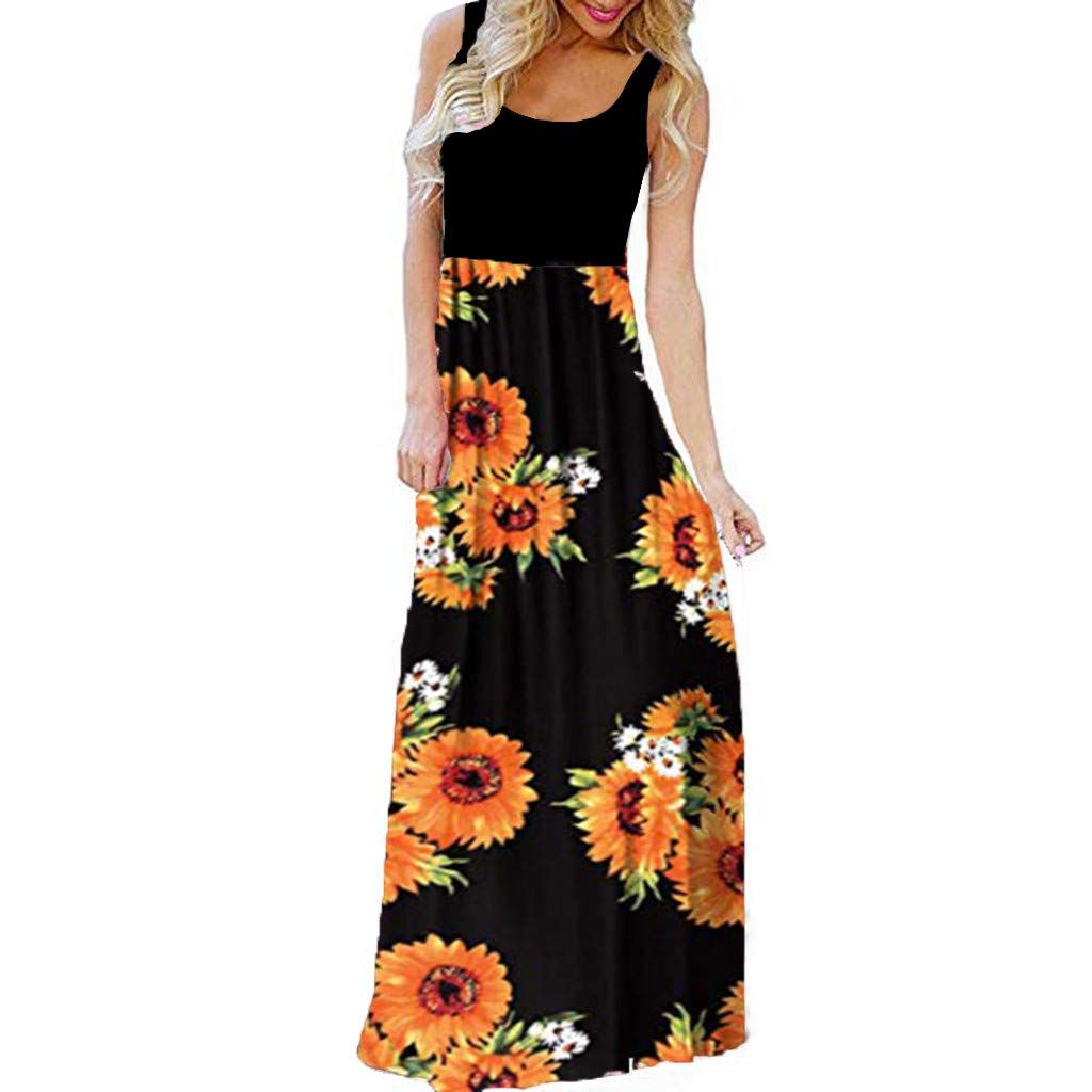 Womens Sleeveless Maxi Dress Ladies Summer Loose Tank Top Floral Print Casual Tunic Contrast Long Dress Maxi Dress Long Dress Casual Sleeveless Dresses Casual [ 1024 x 1024 Pixel ]