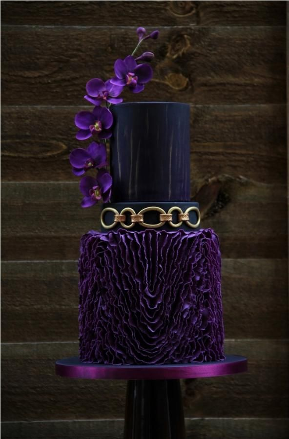 Purple And Gold Wedding Cake Love These Flowers For Bouquets