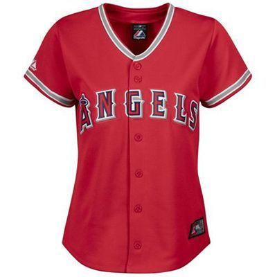 d424effa5 Los Angeles Angels of Anaheim Blank Replica Red Alternate Majestic Women s  MLB Jersey