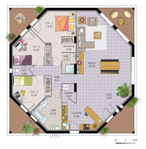 Une maison octogonale originale Plan drawing and House