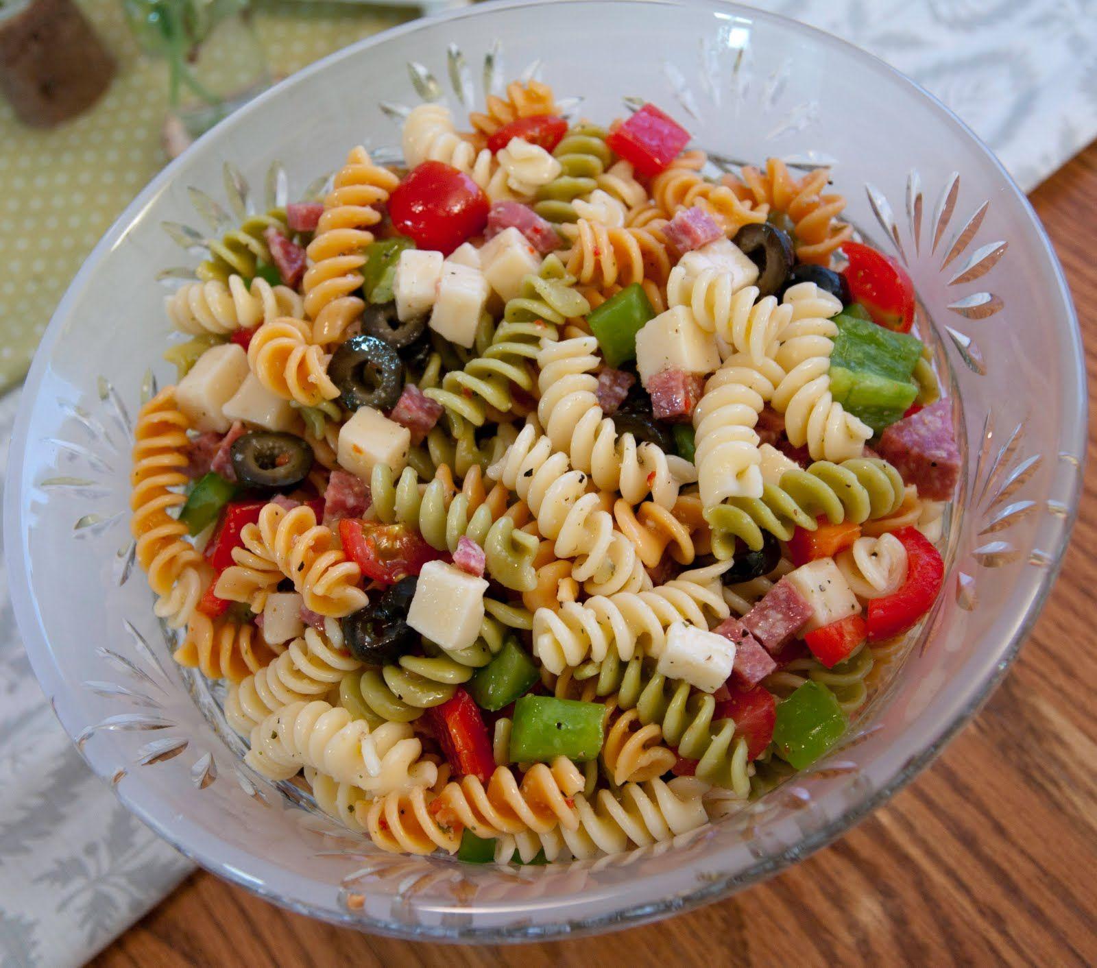 Pasta Salad Italian Dressing, tricolor pasta, salami, provolone or ...